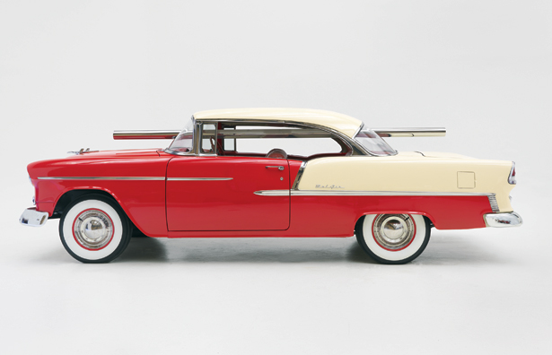 "Walter De Maria, ""Bel Air Trilogy,"" (detail) 2000–2011. Stainless steel rod with 1955 Chevrolet Bel Air Two-tone hardtop."