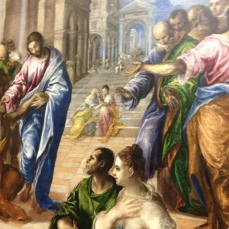 Detail from El Greco's Christ Healing the Blind, ca. 1570. On view in El Greco in New York