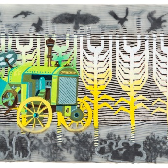 """Pamela Winegard's is one of many artist studios that will be open for the event. Pictured: Drill Baby (Jake's Dream Series) 10"""" x 20"""" Gouache, ink, graphite, and encaustic on panel."""