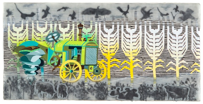 "Pamela Winegard's is one of many artist studios that will be open for the event. Pictured: Drill Baby (Jake's Dream Series) 10"" x 20"" Gouache, ink, graphite, and encaustic on panel."