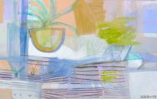 Sally King Benedict, Mambo Taxi, 2014. Mixed media on linen30 x 48 inches