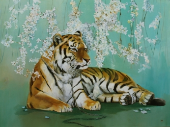 """Tiger In The Cherry Blossoms, Oil on Canvas, 40"""" x 30"""""""