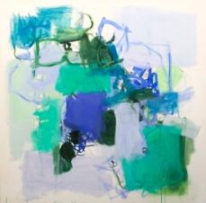 Kate Long Stevenson, Untitled, Blue + Green, 2015. Acrylic + gouache on canvas48 x 48 inches