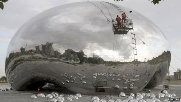 "China's upcoming ""big oil bubble"" sculpture, thought to be a copy of Kapoor's ""bean"""