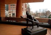 The Sculpture Deck at the Bechtler Museum. Germaine Richier, Woman Grasshopper, 1946 (bronze).