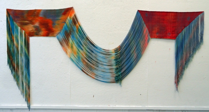 "Sydney Sogol, ""Two Worlds Connecting"" Hand painted and dyed tencel and wool. 2013."