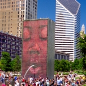 Jaume Plensa, Crown Fountain, 2014. Located in Chicago's Millenium Park