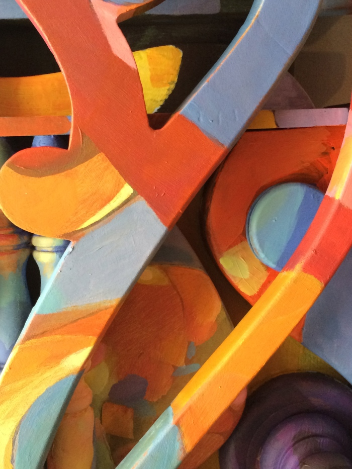 detail of painted sculpture