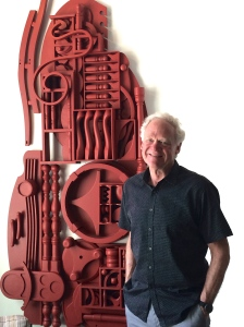 Furman with large red sculpture