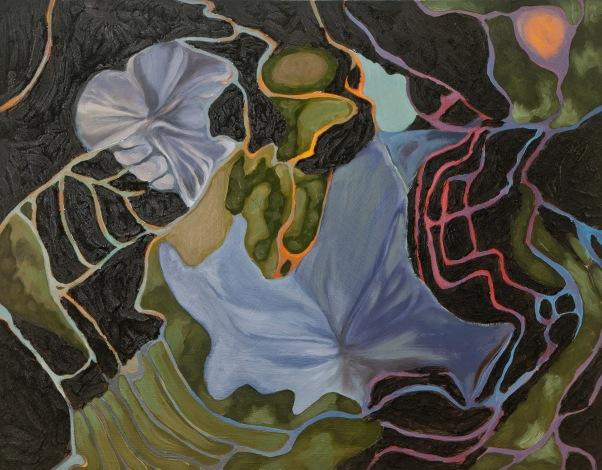 "Carolyn Jacobs, ""Cleave,"" coal, oil, wax, 24"" x 24"""