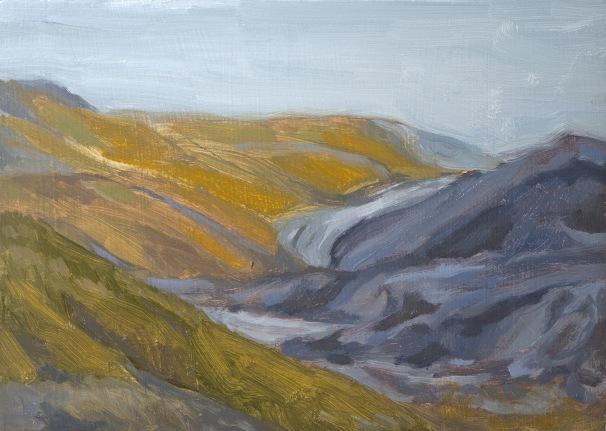 "Carolyn Jacobs, ""West Virginia Strip Mine II,"" 2015, oil on panel, 5"" ×7"""