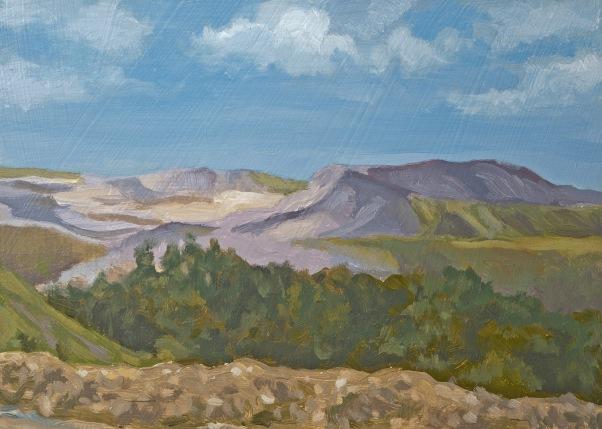 "Carolyn Jacobs, ""West Virginia Strip Mine,"" 2015, oil, 5"" x 7"""