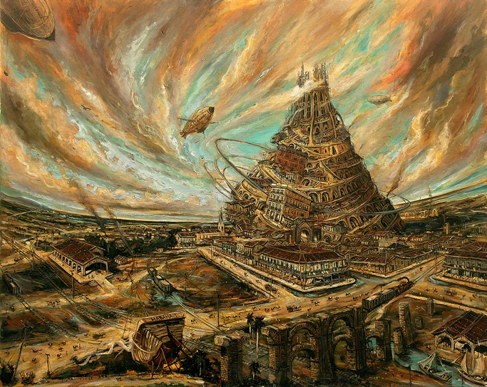 Vicente Hernández, The Tower and the Utophy, 2013. Oil on canvas, 31 1/4 x 39 1/4 inches.