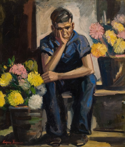 Eugene Thomason, Boy with Chrysanthemums, c. 1936-1937. This paintings is a part of the Mint's permanent collection and is included in this traveling exhibition.