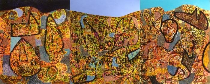 "Russ Warren, Zaragoza, 2014. Acrylic on canvas, triptych, 60 x 48"" each panel, 60 x 144"" total."