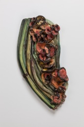 "Misconception 21"" x 10"" x 4"" Fired Clay, oxides, mixed media 2014, Photo by Mitchell Kearney"