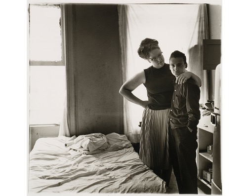 "Diane Arbus, Two Friends at Home, NYC, 1965. Gelatin silver print, 14"" x 11"". Davidson College Art Gallery Purchase, © Estate of Diane Arbus."