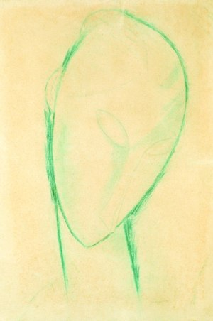 Amedeo Modigliani (Italian, 1884- 1920 ).  Tête de Femme  (Head of a Woman), 1910-1920, pastel and graphite on paper.  The Harry and Mary Dalton Collection. 1986.5.1. Collection of  The Mint Museum, Charlotte, North Carolina