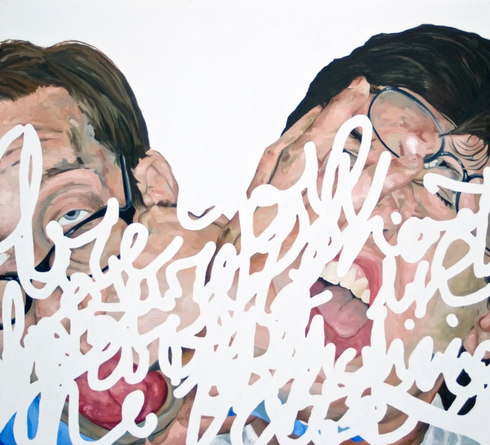 "Are You Shooting Yourself In The Foot, Or Punching Yourself In The Face?, 2009, Oil and Acrylic on Canvas,  60"" x 66"" Will be available at McColl Center Studio Party 16"