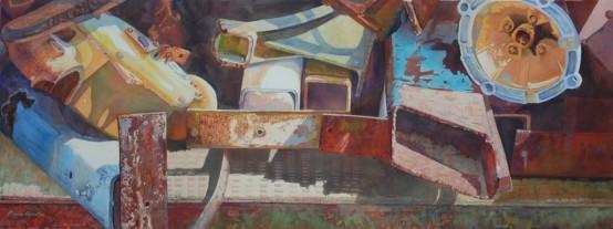 Junkyard, No Dog, Bruce Chandler, Watercolor, Gouache