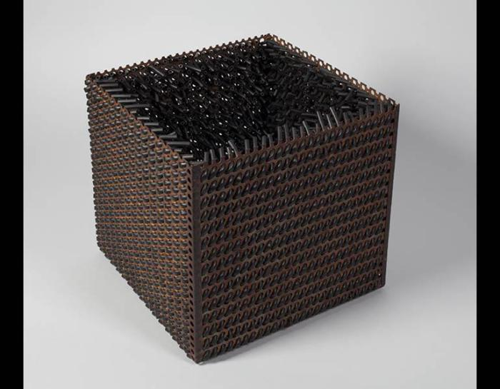 Accession V, 1968. Eva Hesse (American, 1936–1970). Galvanized steel and rubber; 10 x 10 x 10 in. LeWitt Collection, Chester, Connecticut. © The Estate of Eva Hesse. Courtesy Hauser & Wirth.