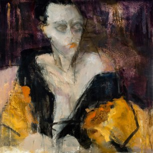 Woman in Robe, Sharon Hockfield, Oil on Canvas