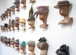 Try It On - The Hat Project, Janet Lasher, Ceramic & Encaustic
