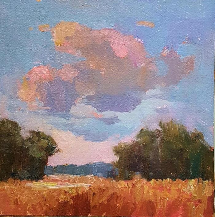 Millie Gosch, Low Country Pink. Oil on canvas, 8 x 8 inches.