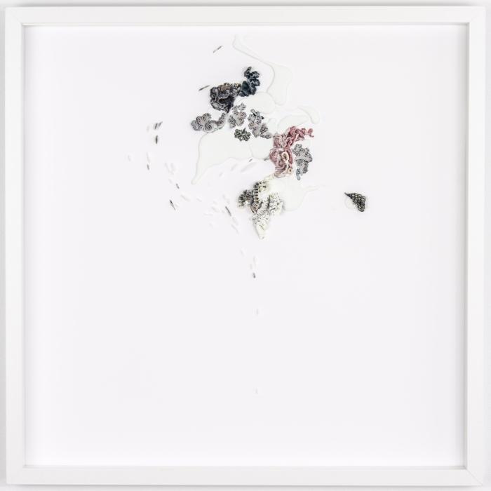 Untitled 15.04, 2015, 20 x 20 in., wax on acid free mat board