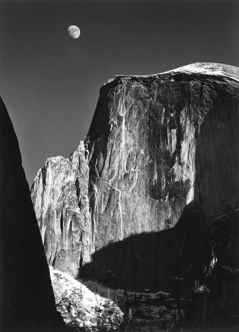 "Ansel Adams, ""Moon and Half Dome, Yosemite National Park, California"""