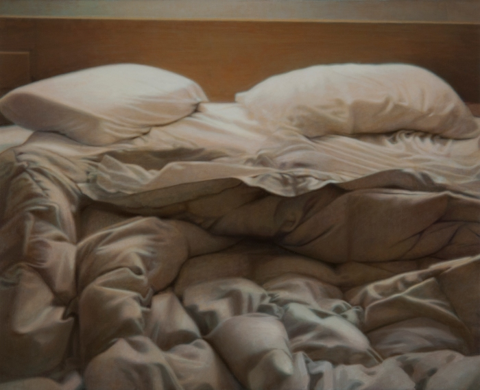 Unmade Bed, Venice, 1977, 2014. Oil on linen, 11x14 inches.