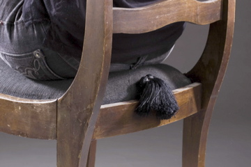 "Annie Evelyn, ""Impolite Chair,"" hidden whoopee cushion in antique chair"