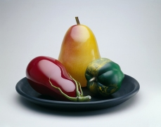 Flora C. Mace and Joey Kirkpatrick, Still-Life with Pear, 1992 –1994, blown glass, painted alderwood, Toledo Museum of Art, Gift of Dale and Doug Anderson in honor of Dorothy and George Saxe, 1996.28A-D