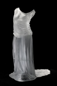 Karen LaMonte, Dress Impression with Train, 2007, cast glass. Toledo Museum of Art, Purchased with funds from the Libbey Endowment, Gift of Edward Drummond Libbey, by exchange, 2008.148. © Karen LaMonte, 2007. Photo: Richard Goodbody Inc.