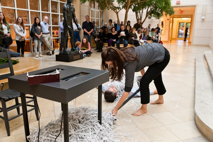 """Cherry Pickers,"" Performance Art, Davidson College Art Galleries, 2015; Image credit: Lynn Griffin-Roberts"