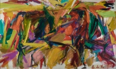 Elaine de Kooning Bullfight 1959 Oil on canvas 77 5/8 x 130 1/4 x 1 1/8 inches Denver Art Museum: Vance H. Kirkland Acquisition Fund, 2012.300. © Estate of Elaine de Kooning.