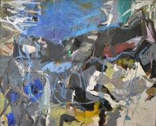 Perle FineSummer I1958–59.Oil paint and collage on canvas57 x 70 in. (144.78 x 177.8 cm)Collection of Craig. A Ponzio. Image courtesy McCormick Gallery, Chicago. © A.E. Artworks, LLC