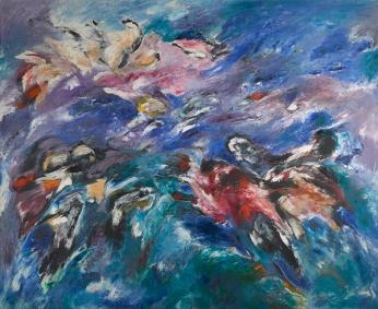 Sonia Getchoff The Beginning 1960 Oil paint on canvas 69 x 83 in. (175.26 x 210.82 cm) Denver Art Museum: Vance H. Kirkland Acquisition Fund, 2015.62. © Sonia Gechtoff