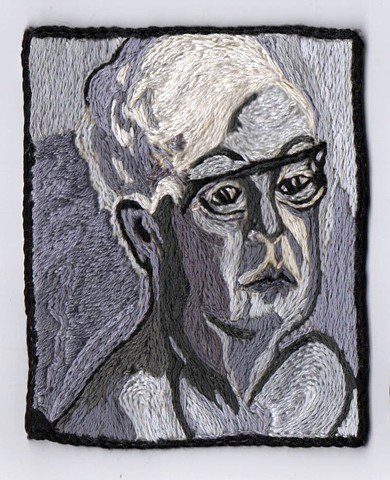 "Marcia Goldenstein, Alice Neel, Thread, 3.7""x4.6"". Goldenstein's work is on view with Todd Johnson's in ""Small Histories"" at CPCC, opening Thursday November 3"