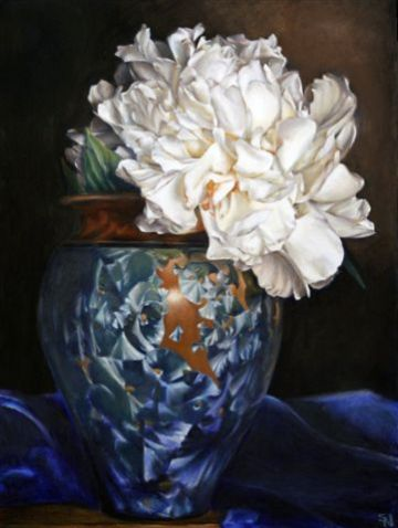 """Stephanie Neely opens a show at CPCC this week. Blue Ice 40"""" x 30"""" oil pastels on canvas. Photo via elderart.com"""