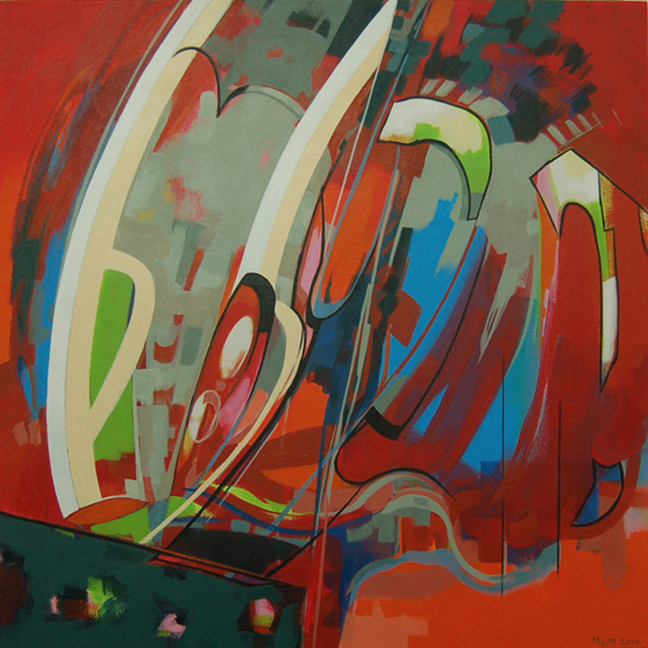 Marge Loudon Moody Hanging Planes series Chair Acrylic on canvas on panel 34 x 34 ins 2016