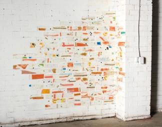 Goodyear Bricks, 2016, Acrylic, studio discards, Dimensions variable
