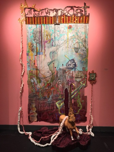 Jason Watson The Ballad of the Anonymous Scribes mixed media, scroll drawing with found objects attached. 9'' x 4' x 2'