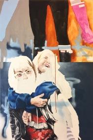 "Nat Lancaster Frame 1492, 1493, 2017 Oil, Acrylic, Spray Paint, Graphite on Canvas 48"" x 32"""